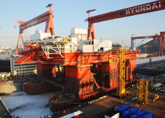 현대삼호重, 세계 최대급 반잠수식 시추선 진수