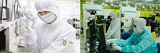LG이노텍 스마트폰 부품 생산현장(왼쪽)과 SK하이닉스 반도체 공장(오른쪽) ⓒ각사