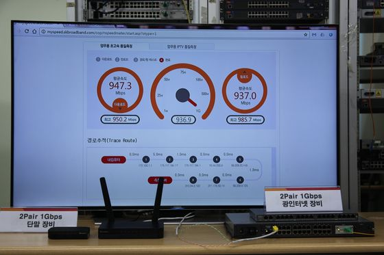 2페어 1기가 인터넷 서비스를 통해 품질측정을 하고 있는 모습.ⓒSK브로드밴드