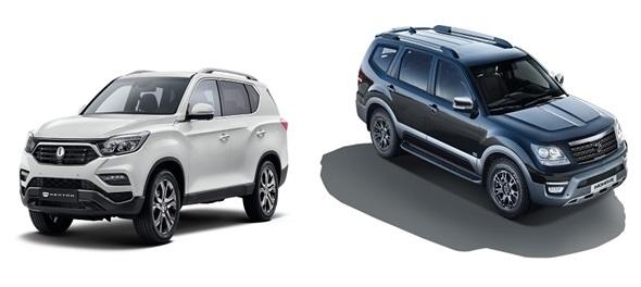 대형 SUV 시장 각축전을 예고하고 있는 쌍용차 G4 렉스턴(왼쪽)과 기아차 모하비.ⓒ쌍용자동차·기아자동차