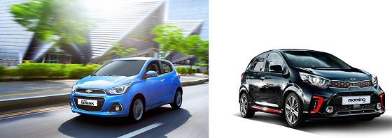 경차시장을 양분한 한국지엠 쉐보레 스파크(왼쪽)와 기아차 올 뉴 모닝.ⓒ한국지엠·기아자동차