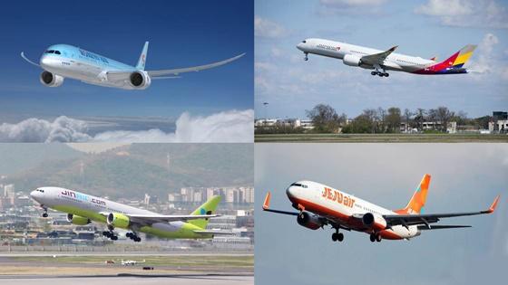 (왼쪽위부터 시계방향으로)대한항공·아시아나·제주항공·진에어 여객기.ⓒ각 사.