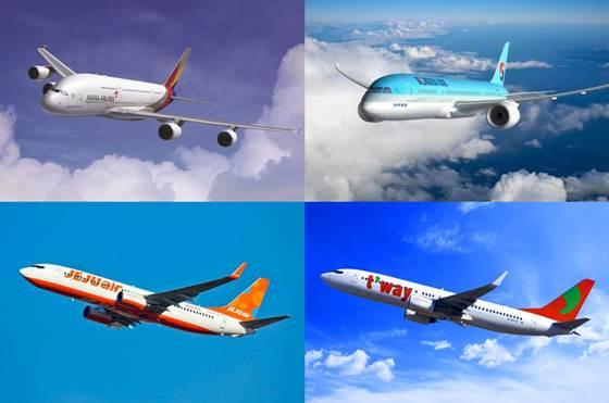 (왼쪽위부터 시계방향으로)아시아나항공·대한항공·티웨이항공·제주항공 여객기.ⓒ각 사.