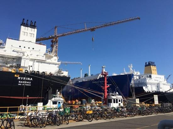 대우조선해양이 건조중인 LNG선 전경.ⓒEBN
