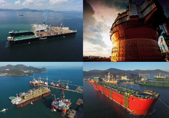 한국 조선업계가 건조한 해양플랜트들.ⓒ각사