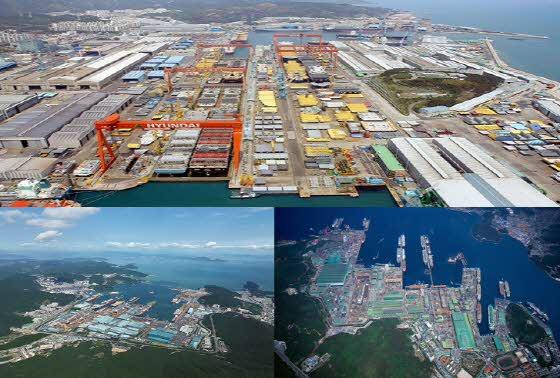 시계 반대 방향으로 현대중공업 울산조선소,대우조선해양 옥포조선소,삼성중공업 거제조선소 전경.ⓒ현대중공업·삼성중공업·대우조선해양