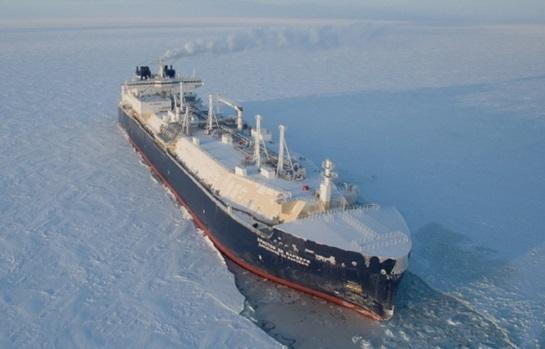 대우조선해양이 수주한 세계 최초 쇄빙 LNG운반선 전경.ⓒ대우조선해양