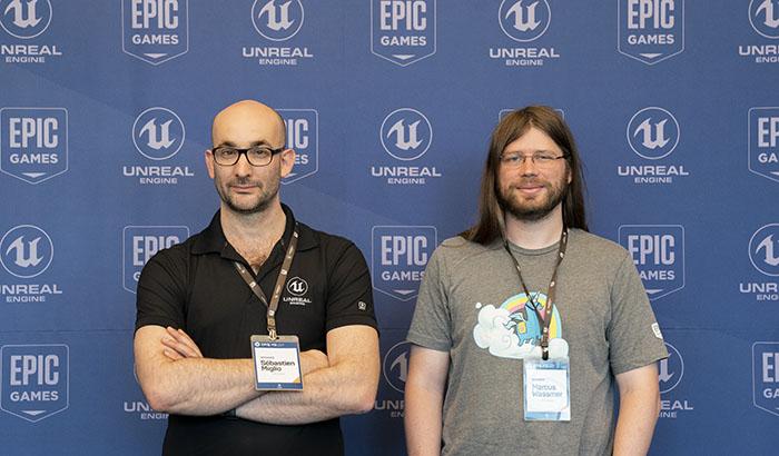 14일  에픽게임즈 개발자 컨퍼런스 '언리얼 서밋 2019'에서 에픽게임즈 본사의 마커스 와스머, 세바스찬 미글리오 디렉터가 공동인터뷰를 진행했다. ⓒ