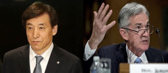 이주열 한국은행 총재(사진 왼쪽)와 제롬 파월 미 연준 의장(사진 오른쪽).
