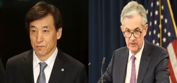이주열 한국은행 총재(사진 왼쪽)와 제롬 파월 미 연준 의장(사진 오른쪽).ⓒEBN, 미 연방준비제도