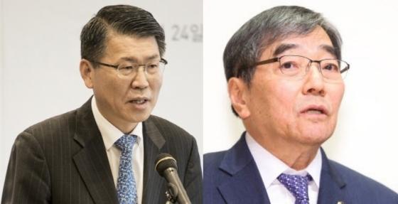 은성수 신임 금융위원장(왼쪽), 윤석헌 금융감독원장(오른쪽).