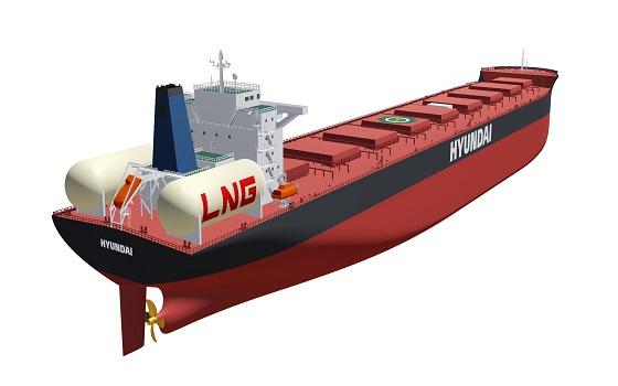 원통 모양의 LNG(액화천연가스)탱크가 탑재된 LNG추진선 조감도.ⓒ현대중공업