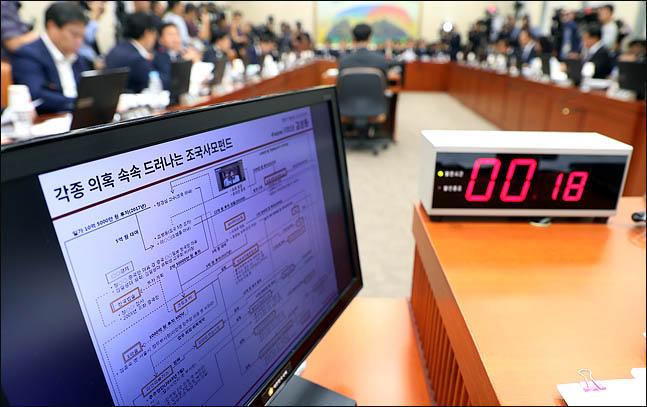 8일 국회에서 열린 국회 정무위원회의 금융감독원에 대한 국정감사에서 조국 사모펀드와 관련한 질의가 진행되고 있다. ⓒ데일리안 박항구 기자