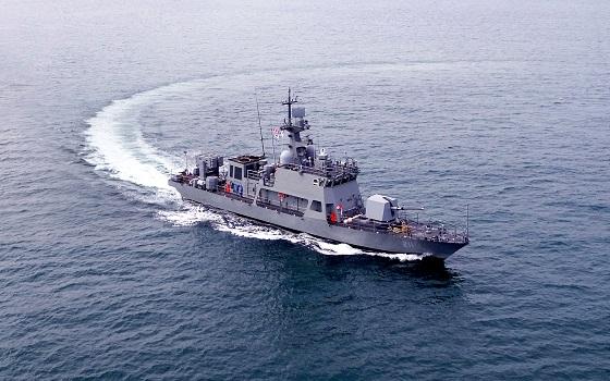 한진중공업이 건조한 차기고속적이 바다를 항해하고 있다.ⓒ한진중공업
