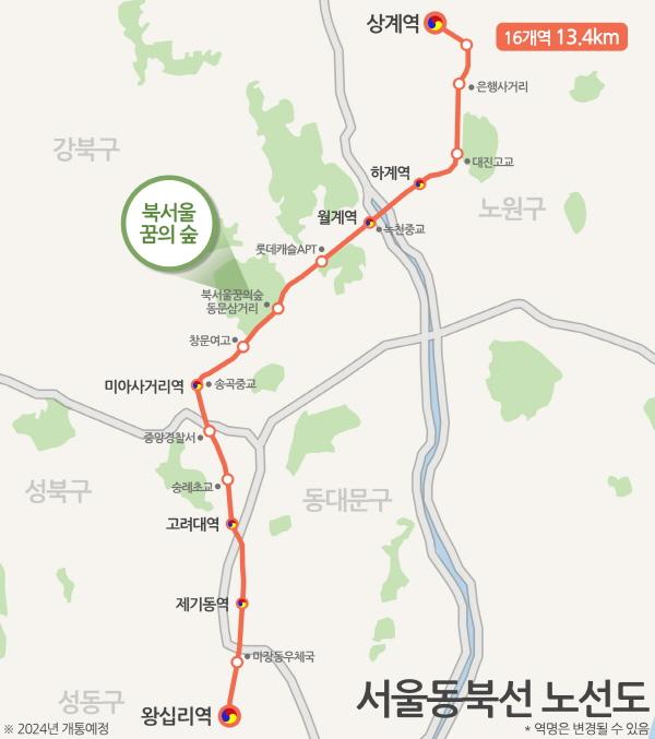 서울 상계~왕십리 동북선 경전철 노선도. ⓒ서울시