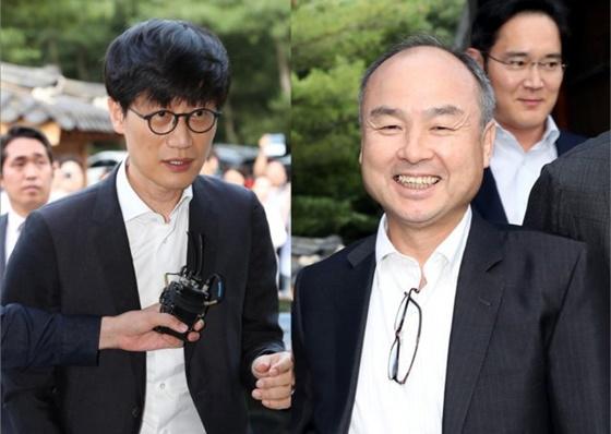 지난 7월 서울 성북동 한국가구박물관에서 열린 만찬 회동에 이해진 네이버 GIO와 손정의 소프트뱅크 회장이 참석했다.
