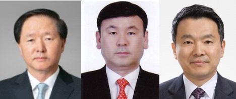 왼쪽부터 우기홍 대한항공 대표이사 사장, 노삼석 한진 대표, 유종석 한국공항 대표.ⓒ한진그룹