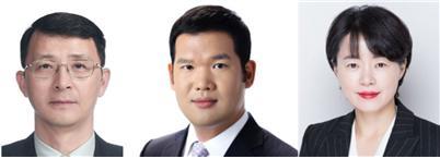 (왼쪽부터)김석환 GS 사장, 허윤홍 GS건설 사장, 윤선미 GS홈쇼핑 상무.