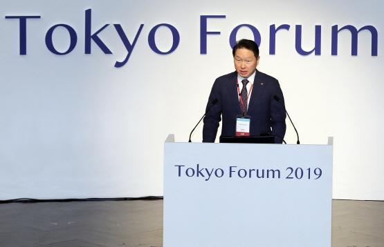 최태원 SK 회장이 11월 6일 일본 도쿄대에서 열린
