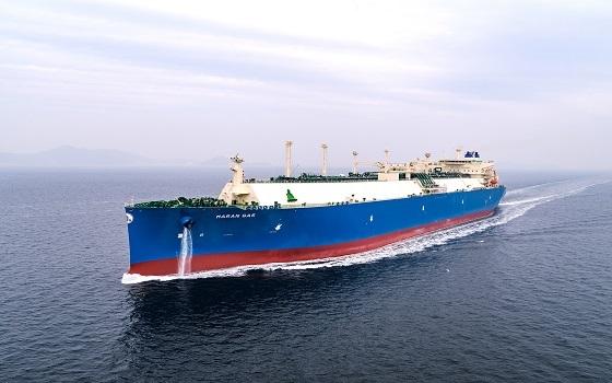 대우조선해양이 그리스 마란가스로부터 수주해 건조한 액화천연가스(LNG)운반선이 바다를 항해하고 있다.ⓒ대우조선해양