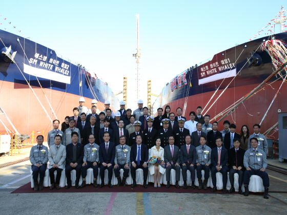 지난해 11월 대우조선해양 옥포조선소에서 열린 대한해운의 초대형 원유 운반선 명명식 모습. ⓒ대한해운