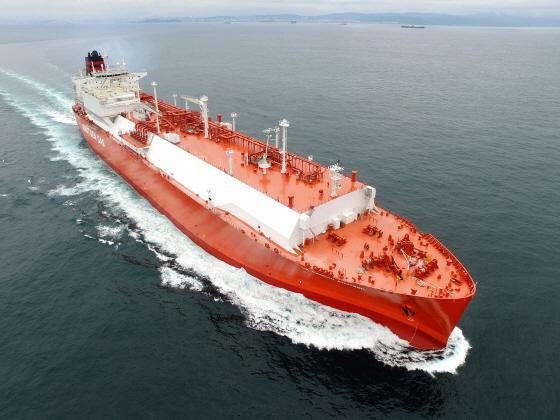 현대중공업이 건조한 노르웨이 크누센사 LNG운반선. ⓒ현대중공업
