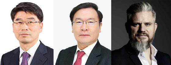 (왼쪽부터) 기아차 송호성 신임 사장, 현대엔지니어링 황헌규 부사장, 기아차 내장디자인실장 요한 페이즌 상무ⓒ현대차그룹