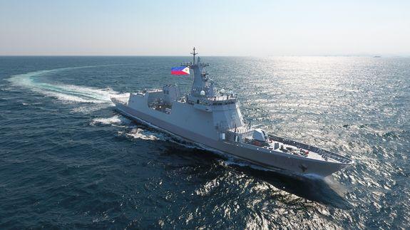 현대중공업이 건조한 필리핀 해군의 최신예 호위함 호세리잘함. ⓒ현대중공업