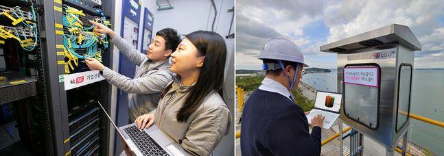 기업 전용 통신망에 5G를 적용한 KT(왼쪽)과 LGU+(오른쪽). ⓒ각사
