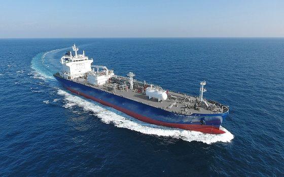 현대미포조선이 건조한 액화석유가스(LPG) 운반선이 바다를 항해하고 있다.ⓒ현대미포조선