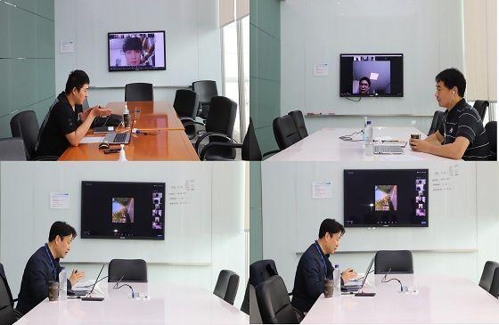 포스코건설이 지난 5일 실시한 취업 멘토링 화상 회의시스템.ⓒ포스코건설