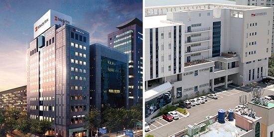 왼쪽부터 서울 강남구 메디톡스 글로벌 비즈니스 센터, 부산 북구 신라젠 본사 전경.ⓒ각사