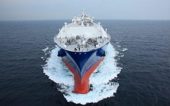 삼성중공업이 건조한 액화천연가스(LNG)선이 바다를 항해하고 있다.ⓒ삼성중공업