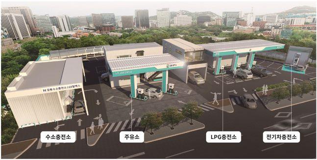 서울 강동구 소재 GS칼텍스 융복합 에너지 스테이션 조감도