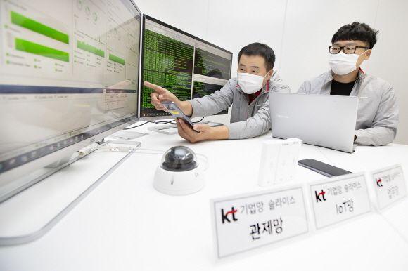 KT 연구원들이 5G 기업 망 슬라이스 기술이 적용된 단말을 테스트하고 있다.ⓒKT