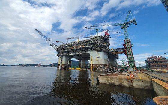 지난 2017년 브리티시페트롤리엄(BP)이 삼성중공업에 발주한 부유식 해양 생산설비(FPU) 아르고스.ⓒ삼성중공업