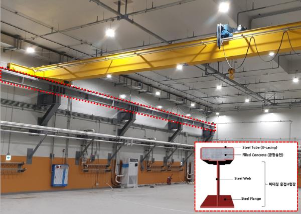 포스코건설은 대전 중이온가속기현장의 천장 크레인 주행보에 고성능 TH-Beam을 처음으로 적용했다.ⓒ포스코건설