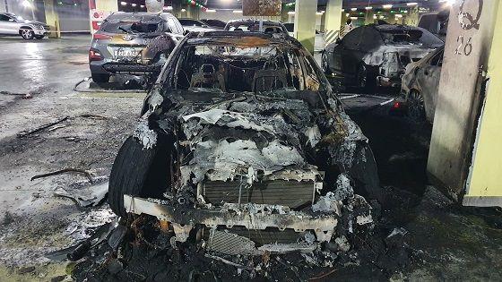 전소된 벤츠 AMG e53 차량 ⓒ대덕대학교 자동차학과 제공