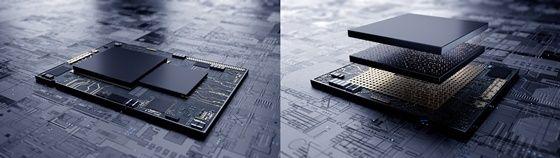 기존 시스템반도체의 평면 설계(좌), 삼성전자의 3차원 적층 기술