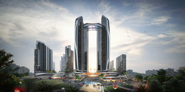 HDC현대산업개발·롯데건설과 SMDP가 설계한 단지 전면부 랜드마크동 헤리티지 타워 투시도.ⓒHDC현대산업개발·롯데건설