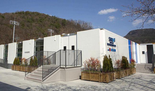 코오롱그룹이 문경 서울대병원 인재원에 기증한 모듈형 음압병동 전경.ⓒ코오롱글로벌