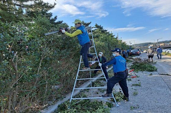 포항제철소 인사노무그룹 및 열연부 직원들이 지난 19일 제철소 인근 청림동 냉천에서 나뭇가지와 쓰레기를 수거하고 있다.ⓒ포항제철소